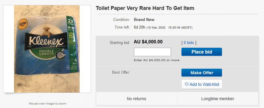 Cornavirus toilet paper ebay listing