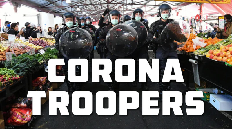 Corona protesters and police at Victoria market Melbourne